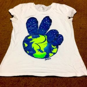Girls Sz 14 Justice peace sign cute shirt